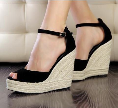 2013 elegant fashion women s open toe button straw braid wedges sandals  platform velvet platform wedges bef82a1face2