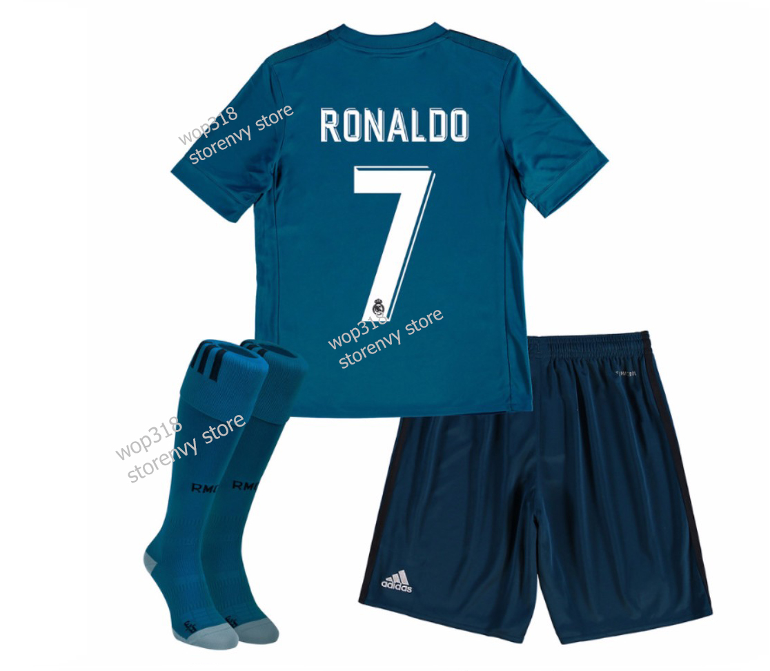 new product 7883c f13a3 Kid's Real Madrid 2018 #7 Ronaldo Away Jersey and Shorts + free socks from  Wop318