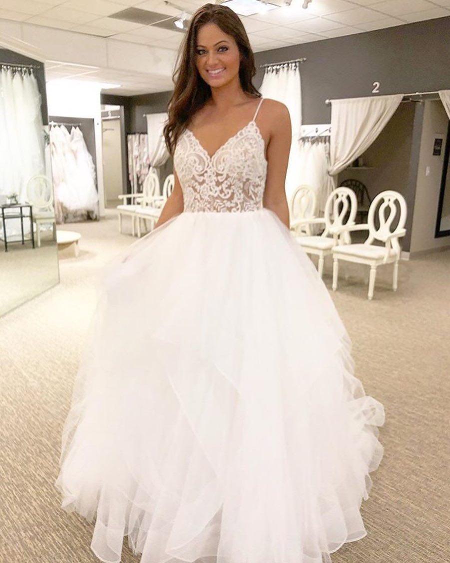 a965fcb56618 Gorgeous A-line Straps White Long Wedding Dress · modseleystore ...