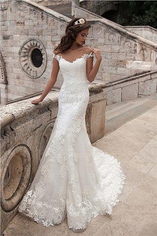 ca6e5f76ebfc Milla Nova 2018 New Arrival Mermaid Wedding Dresses Vintage Scoop Neck  Appliques Short Sleeve Lace Appliques