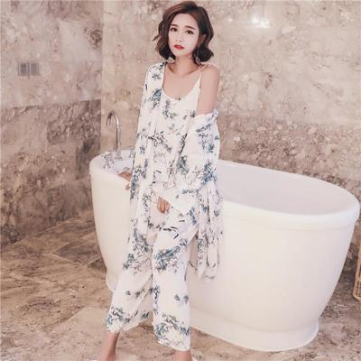 dc1c801501 Korean foreign trade retro wind three piece home furnishing lazy sexy  clothes sling wide leg pants
