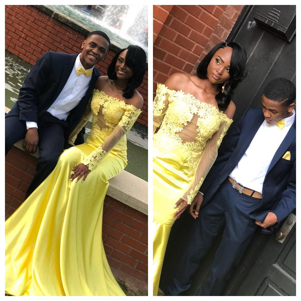 8fc55d30272f Yellow Long Mermaid Prom Dress With Long Sleeve,Off Shoulder Appliques Satin  Formal Evening Party