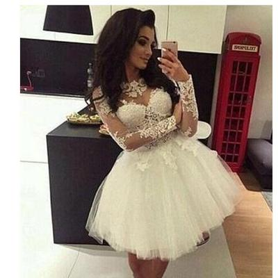 52168da144d Illusion long sleeve homecoming dresses jewel lace applique a line short mini  cocktail party prom gown