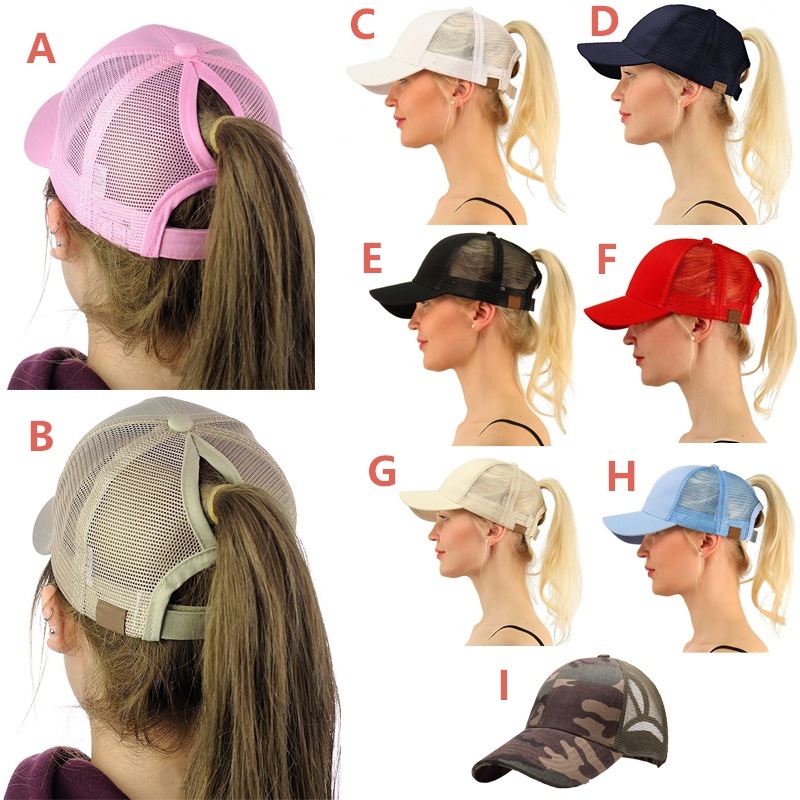 89d385568 Fashion Ponytail Hair Hat Messy Bun Baseball Caps Summer Sport Hip Hop Cap  for Women (9 Styles Optional)