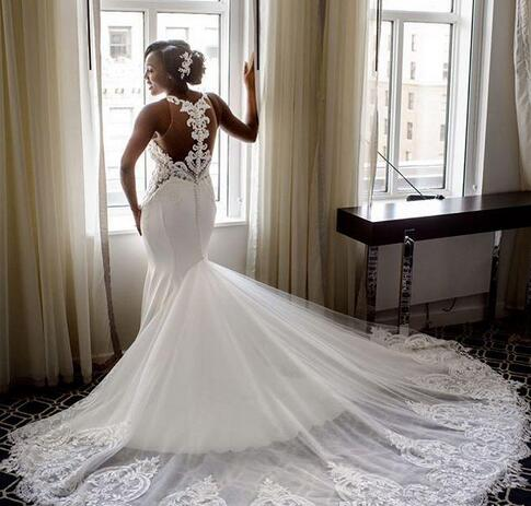 3cb732a9b3a8 Grogeous Lace Jewel Neck Wedding Dresses Sexy Shee Back Lace ...