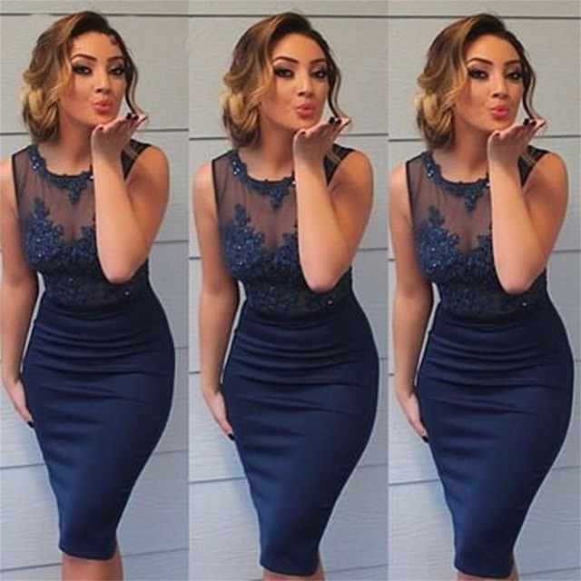 3904151d476 Navy Blue Sheath Short Homecoming Dress Jewel Lace Appliques Beaded  Sleeveless Knee Length Formal Prom Dresses