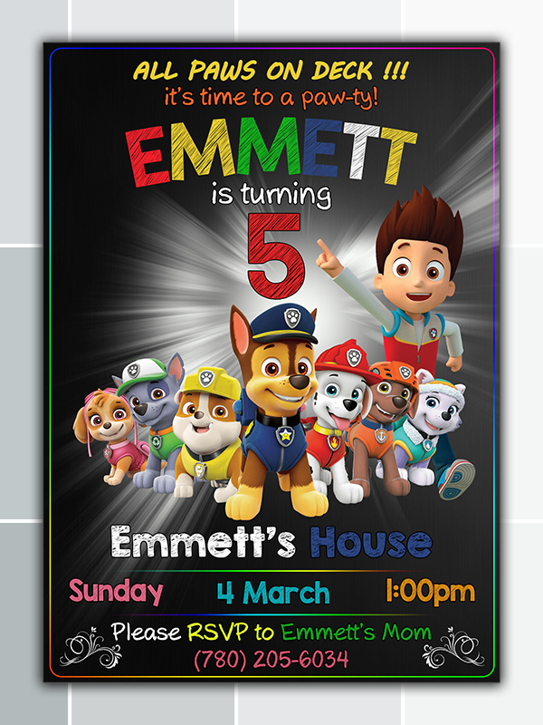 image regarding Paw Patrol Invitations Printable named Paw Patrol Birthday Social gathering Invitation Printable offered by means of birthdayinvitation