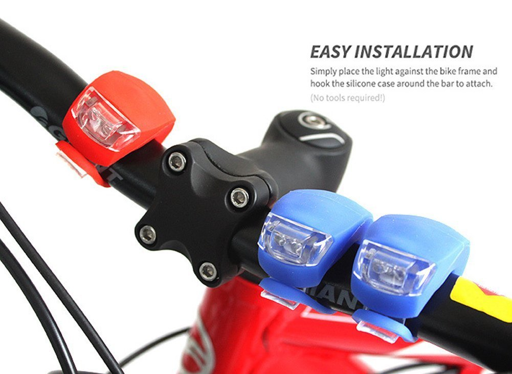 3 Mode led Mountain Bike Bicycle Silicone Front and Rear Light Set Batteries Inc