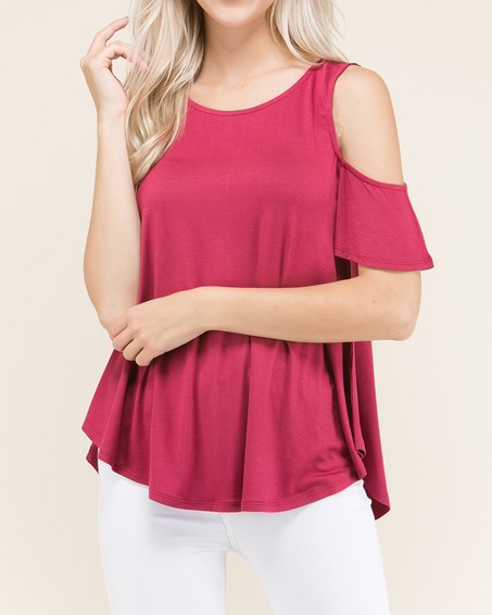 2b5d025e8c3196 Fuchsia Cold Shoulder Top · six75 boutique + designs · Online Store ...