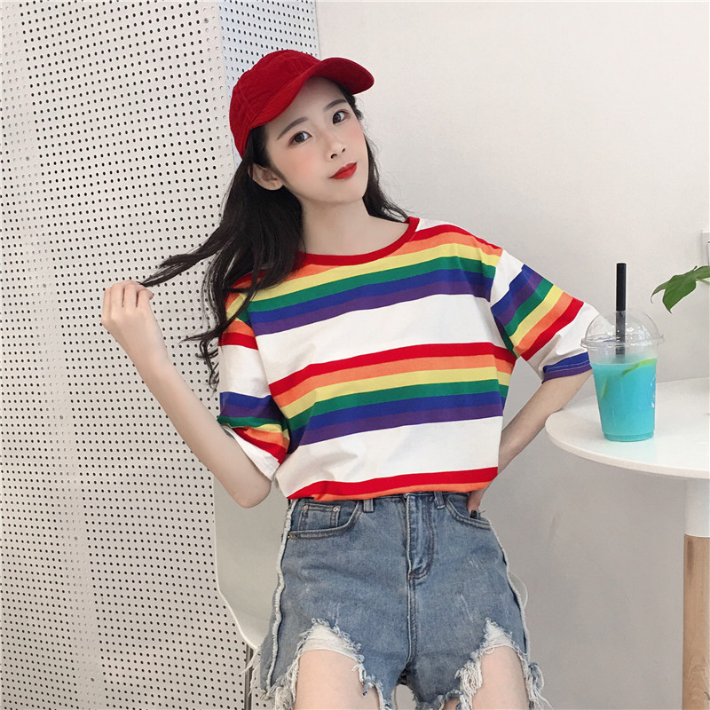621782d0b5 Rainbow and white striped t-shirt (free ship) on Storenvy