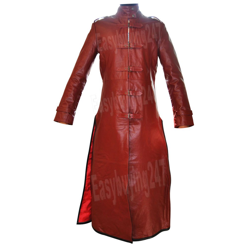 9437c45b372 Handmade Red Duster Unisex Military Belted Trench Leather Long Coat ...