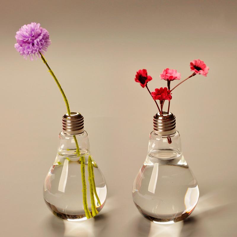 Transparent Light Bulb Glass Vase Desktop Hydroponic Flower Vase On