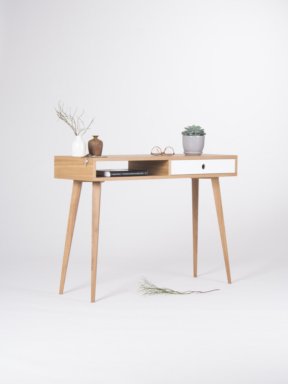 Picture of: Small Console Table Entryway Table With White Drawer And Open Shelf Mid Century Modern Made Of Oak Wood Sold By Mo Woodwork On Storenvy