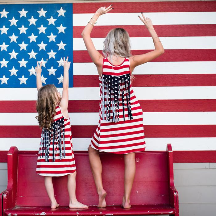 20d1a55aaec12 4th July American Flag Stripe Tassel Mother Daughter Matching Dress ...