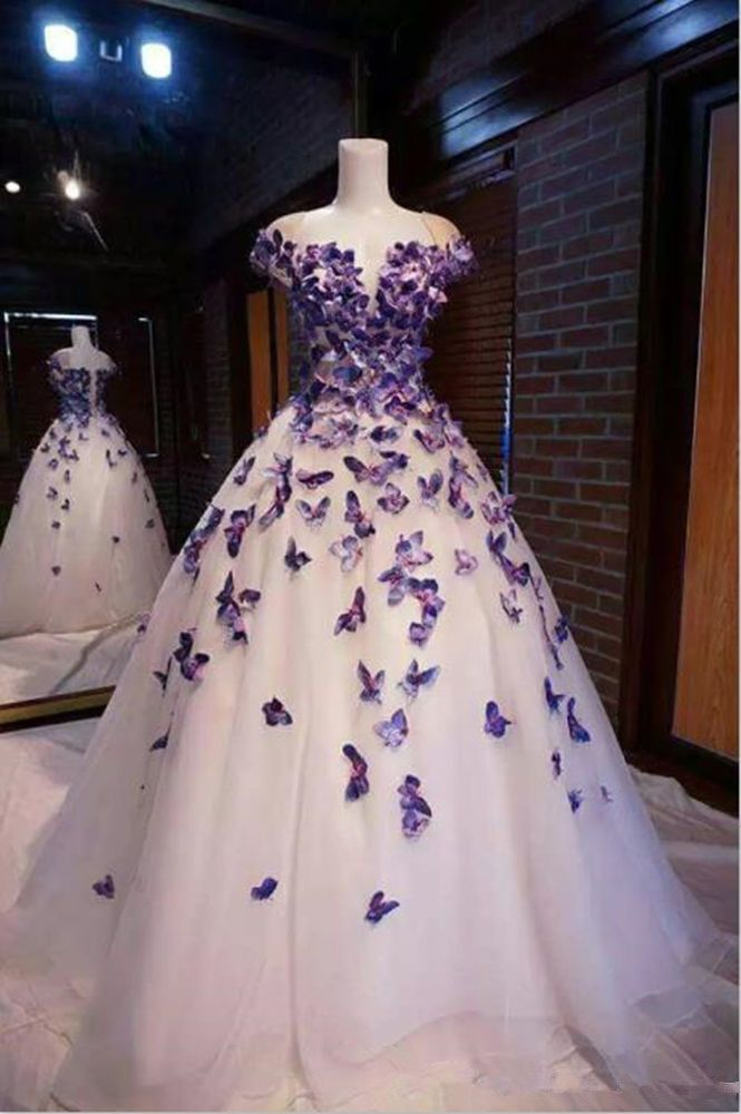 f4c3dbe35e94 Purple Butterfly Appliques Ball Quinceanera Dress Birthday Party ...