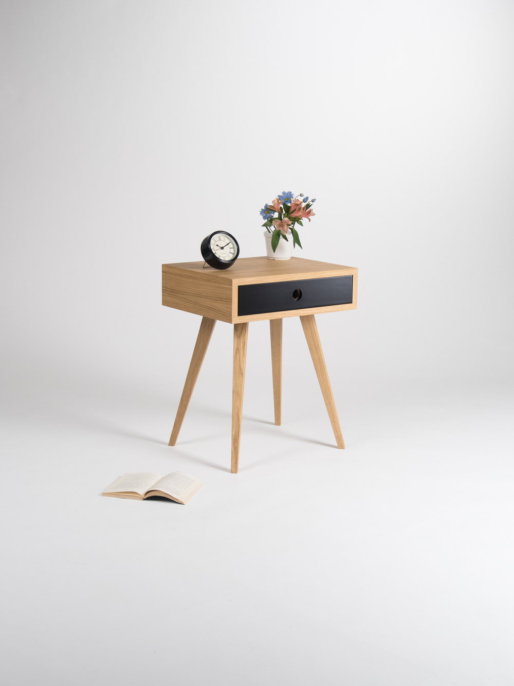 Image of: Mid Century Modern Nightstand Bedside Table End Table With Black Drawer Made Of Oak Wood Sold By Mo Woodwork On Storenvy