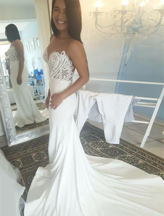d0e4584ce76a 2018 Lace Mermaid Wedding Dress Tulle Jewel Appliques Beaded Satin Wedding  Dresses Vintage Summer Bridal Gowns