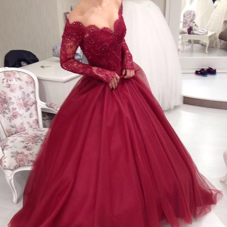 d7aaeea972f Burgundy Ball Gown Prom Dress Long Sleeve V Neck Lace Appliques Beaded  Tulle Floor Length Formal