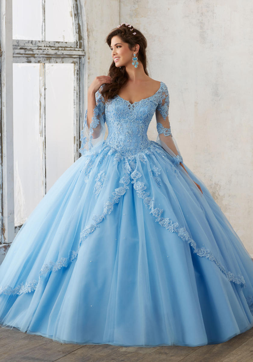 8975b599c58f Light Blue Quinceanera Dresses Ball Gown V Neck Long Sleeve Lace Appliques  Beaded Sexy Open Back Lace-up Prom Dress Pink Bridal Gowns on Storenvy