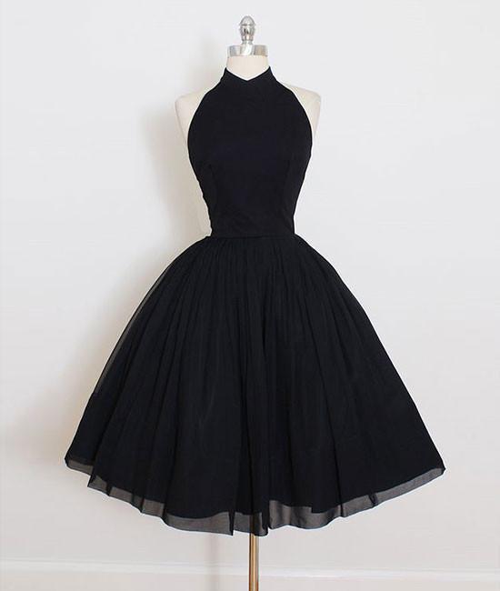 Little Black Dress Halter Short Black Homecoming Dress With Open