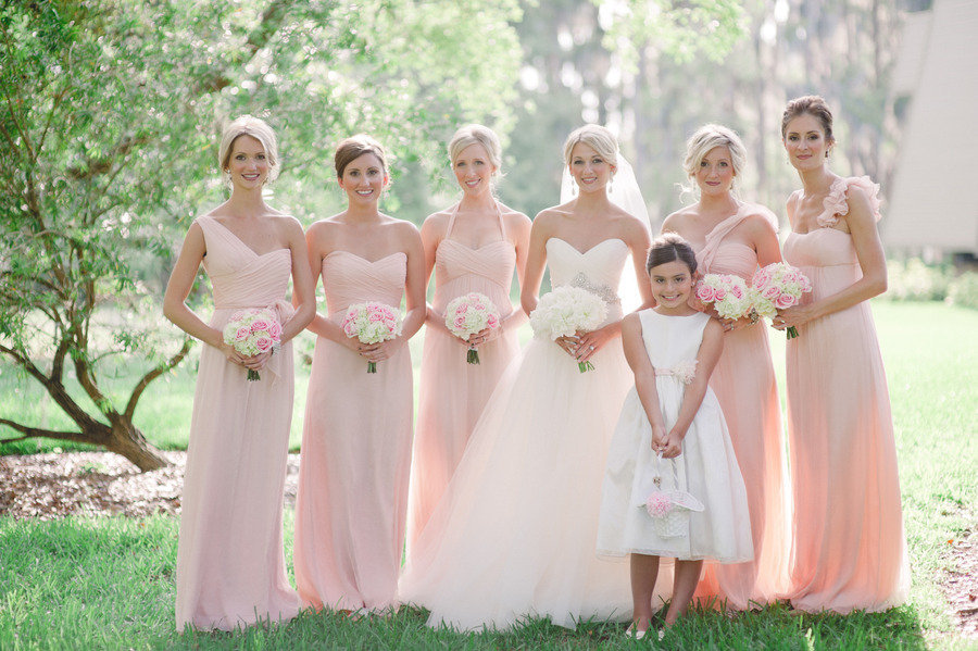 Pink Bridesmaid Dress Modest Country Wedding Party Dresses