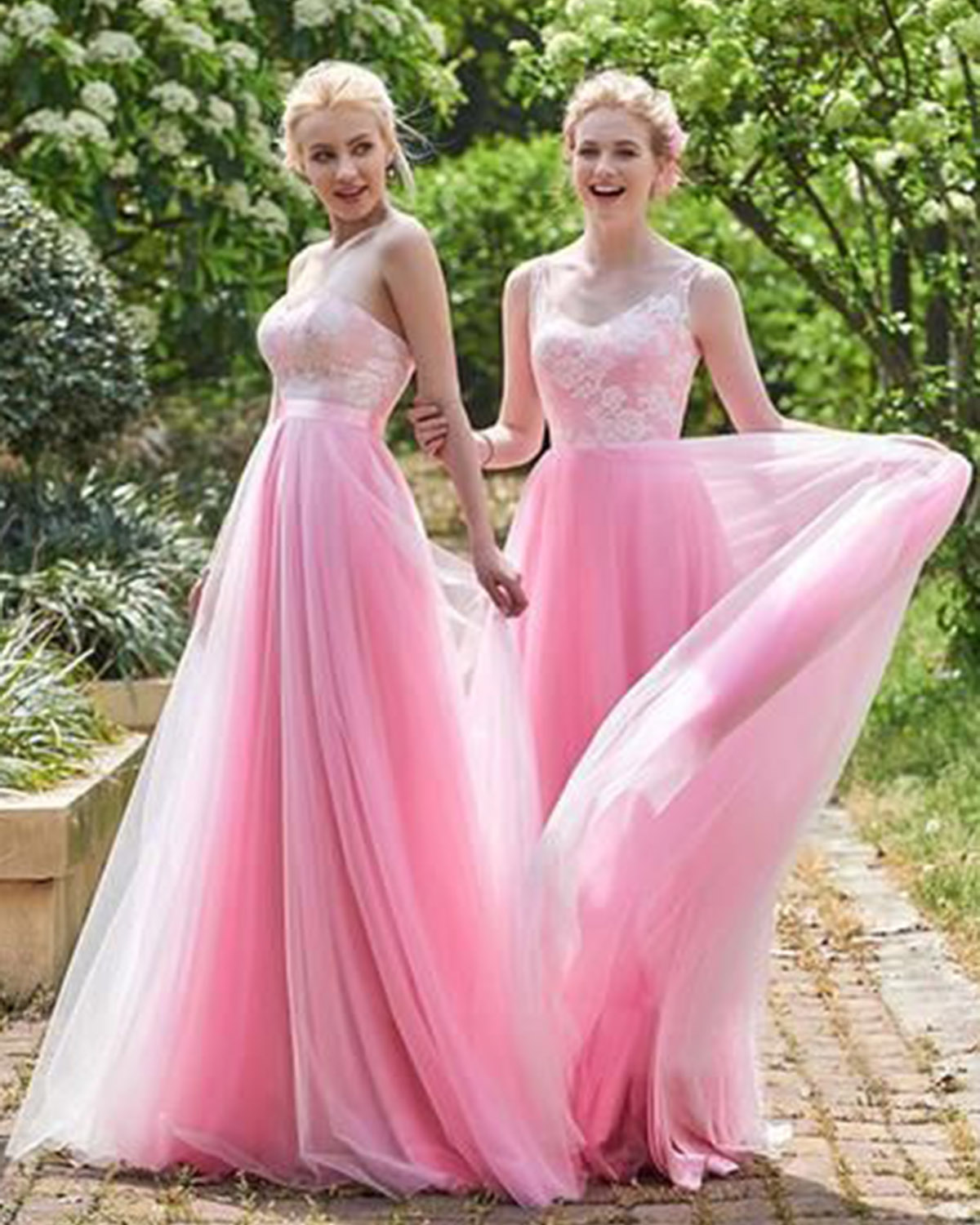 Pink Tulle A-line Long Senior Prom Dress, Long White Lace
