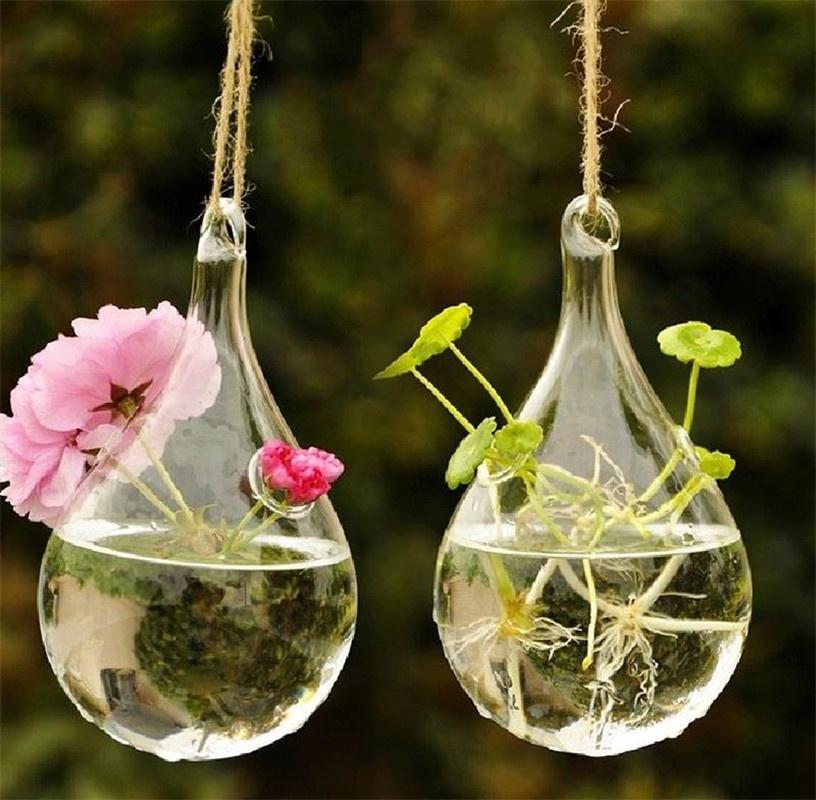 Clear Glass Hanging Vase Bottle Terrarium Container Plant Pot On