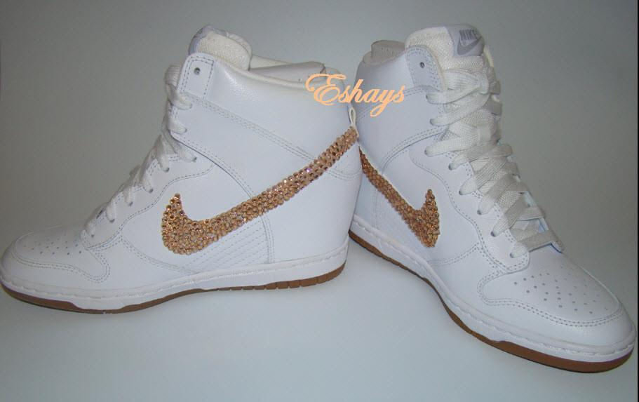 0641d4f0a6ff Eshays   Rhinestone Glitter Swoosh White Nike Dunk Wedges   Online ...