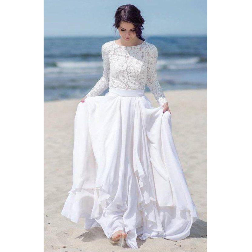 Modest Summer Beach Wedding Dress Long Sleeve Lace Top Chiffon Floor