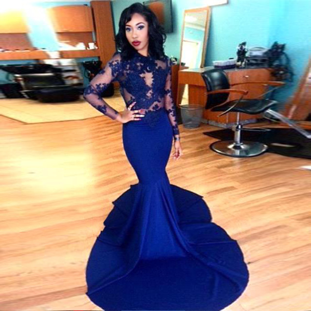 06f54056fd8 Royal Blue Mermaid Prom Dress Long Sleeve Lace Appliques Jewel Neck ...