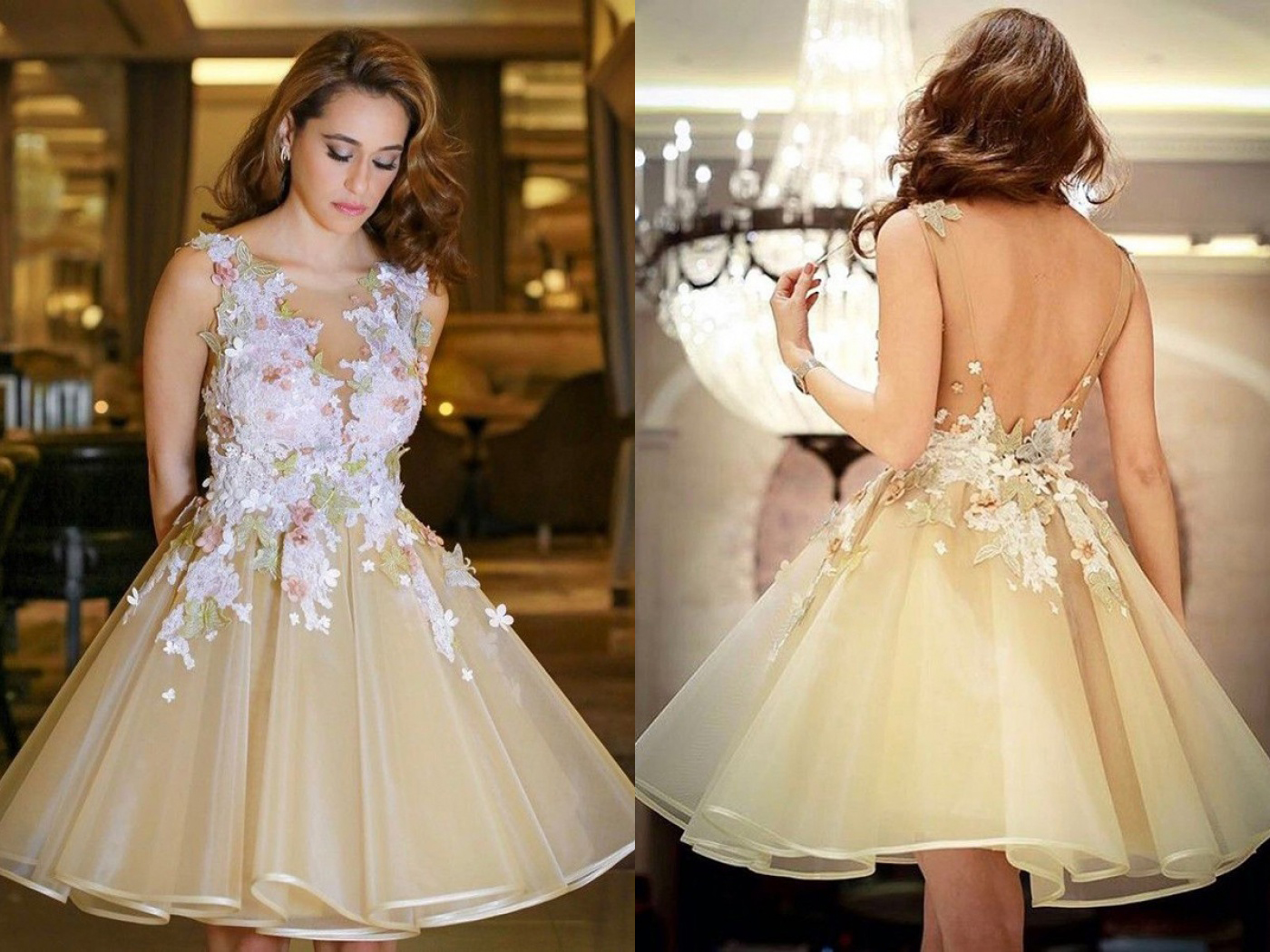 Champagne homecoming dress lace appliques jewel neck sexy open