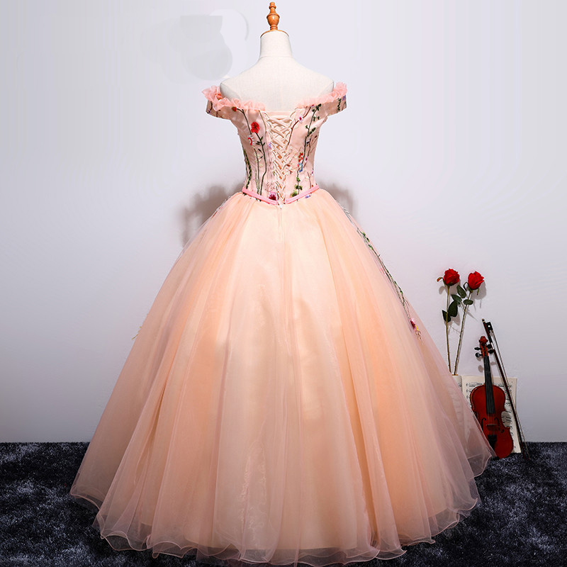 89d2d1bda3 Pink tulle off shoulder lace appliques long ball gown