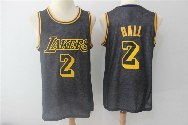 33429cab60b Mens Los Angeles Lakers 2# Lonzo Ball Authentic Jersey Black ? City Edition
