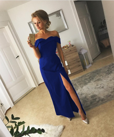 Simple And Elegant White Satin Sweetheart With Jacket: Royal Blue Simple Prom Dress Long Off Shoulder Sweetheart