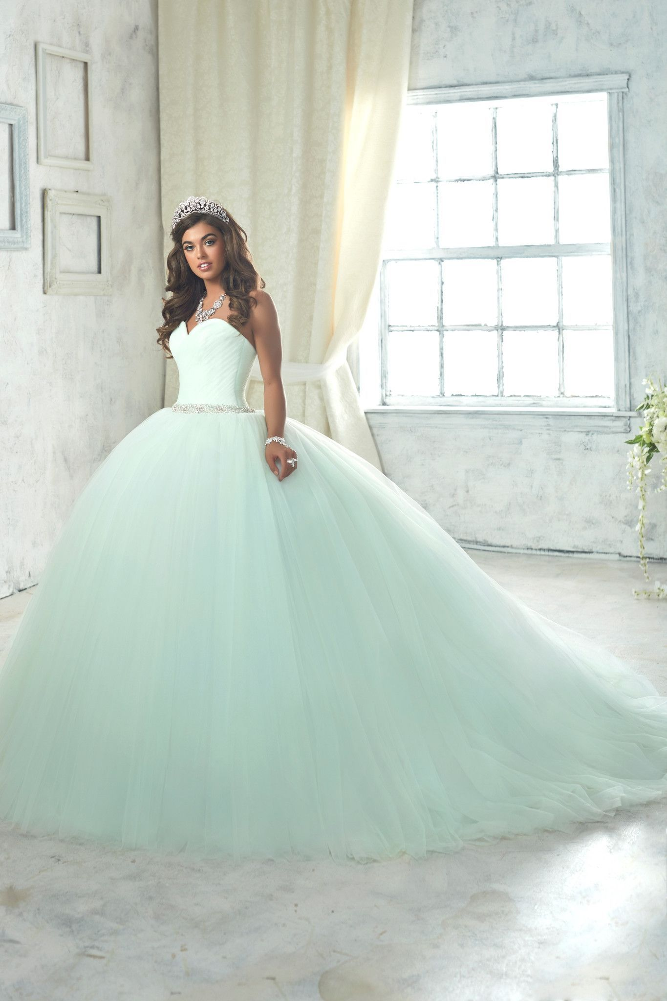 Enticing Mint Green Ball Gown,Sweetheart Tulle Beaded Quinceanera ...