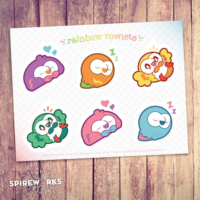 Rowlet Pokemon Sticker Set On Storenvy
