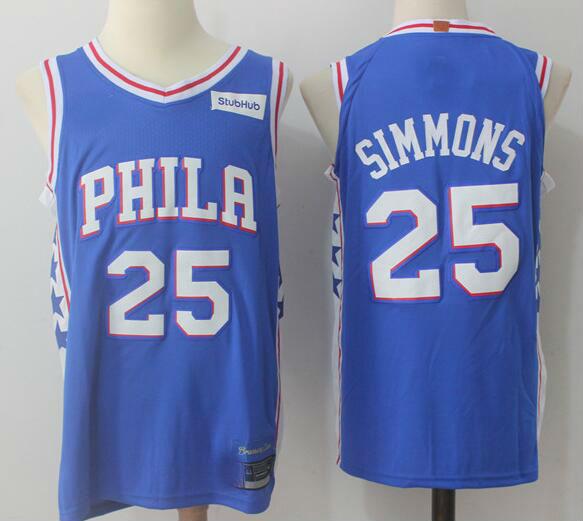43fab019d 2017-18 Philadelphia 76ers  25 Ben Simmons Jersey Blue ...