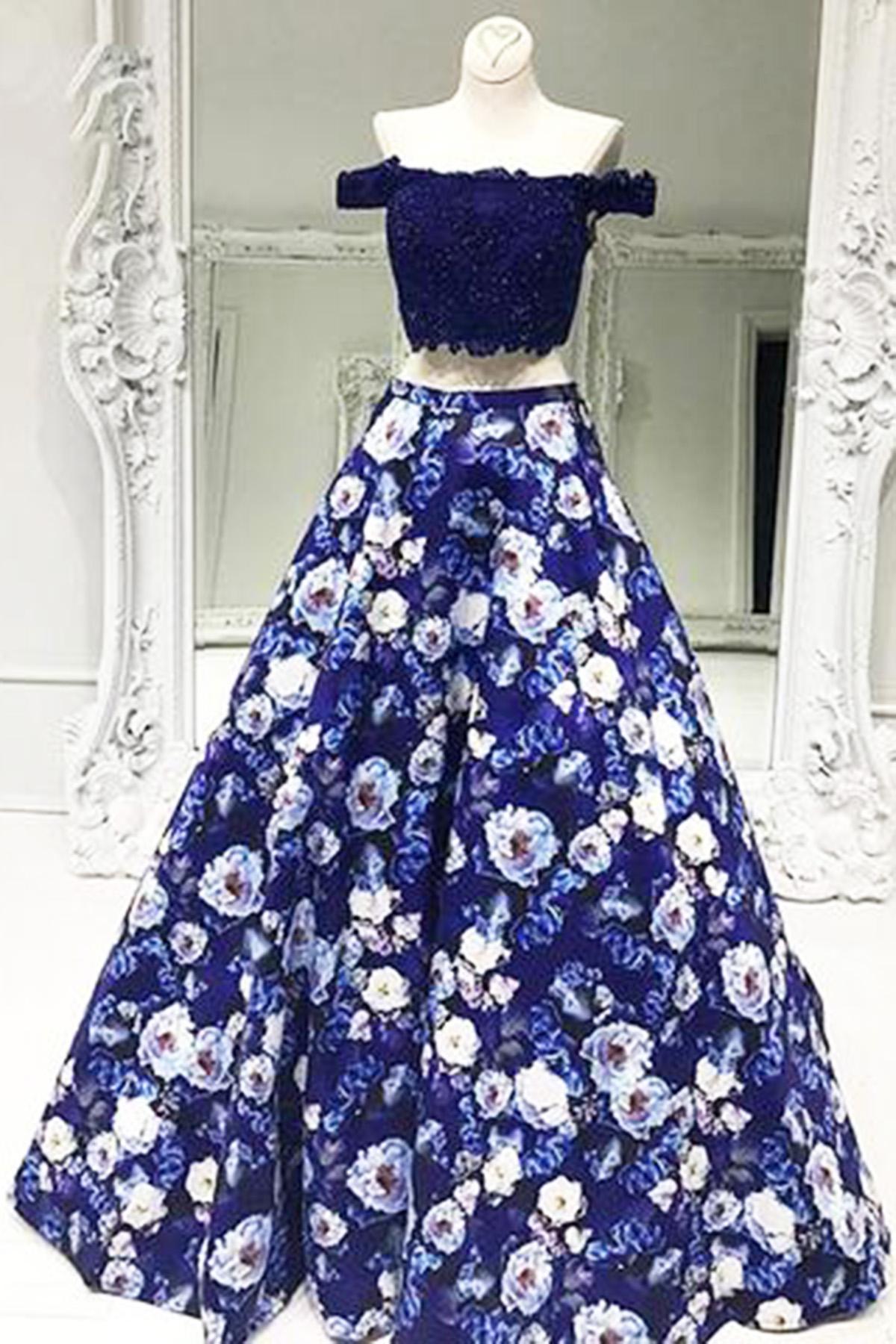 4def27691a87 Navy blue off shoulder two pieces long floral print A-line prom dress