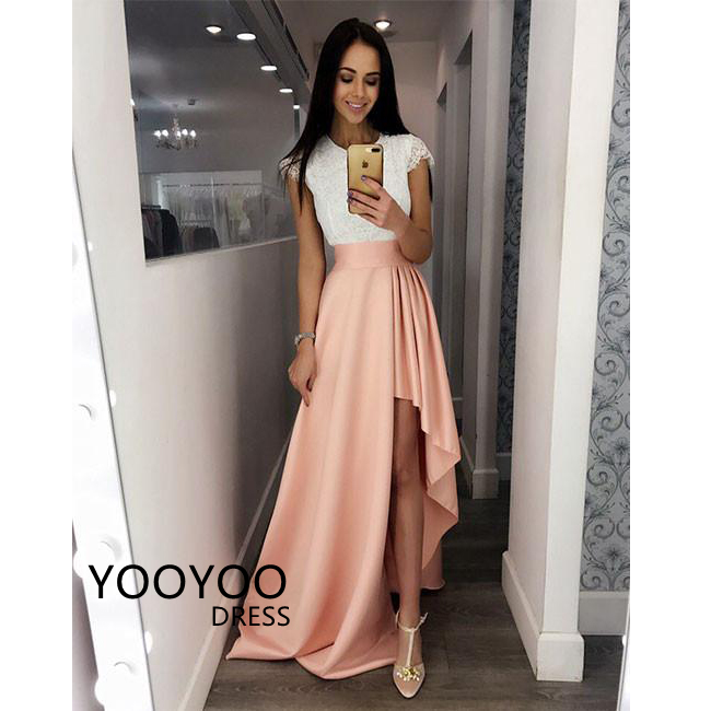 114471c99e 2018 Elegant Long Prom Dress Cap Sleeve Lace Top Satin High Low Formal  Evening Dresses Jewel Neck High Neck Party Gowns on Storenvy