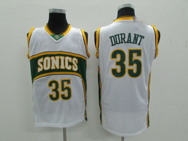 finest selection 44cbe 05fa3 Mens Seattle Supersonics #35 Kevin Durant Retro Basketball Jersey White  from teamjerseyinc