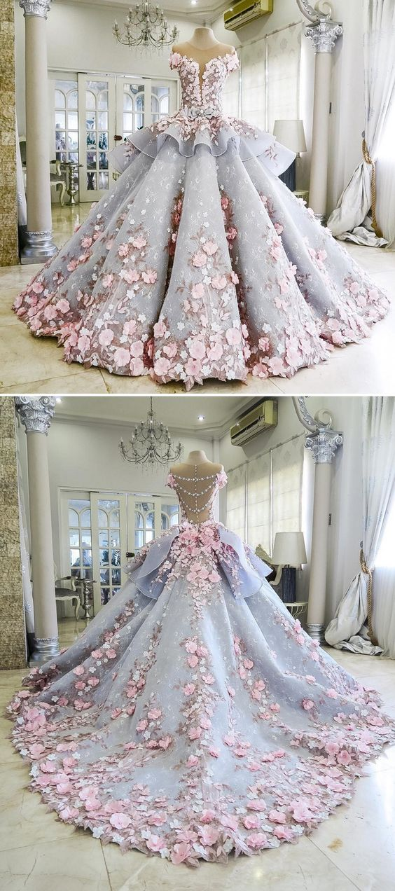 9fe45fd36 Pretty Quinceanera Dress Ball Gown Flowers Evening Dress Long Backless  Wedding Prom Gowns Formal Dress For