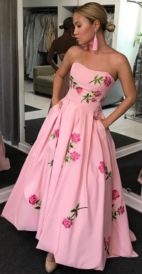 All Gown Sweetheart Pink Satin Prom Dress With Appliques