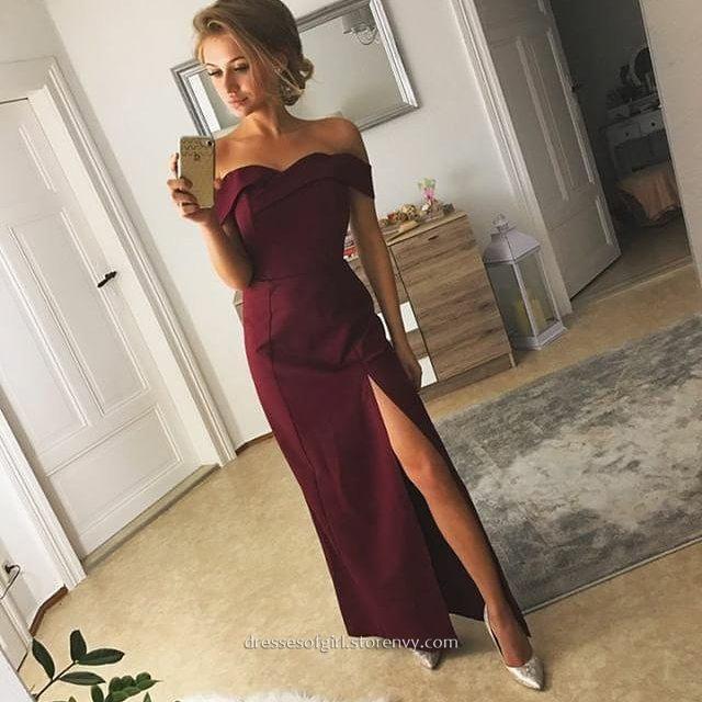683d302b075e Long Prom Dresses,Sheath/Column Off-the-shoulder Evening Dresses,Ankle