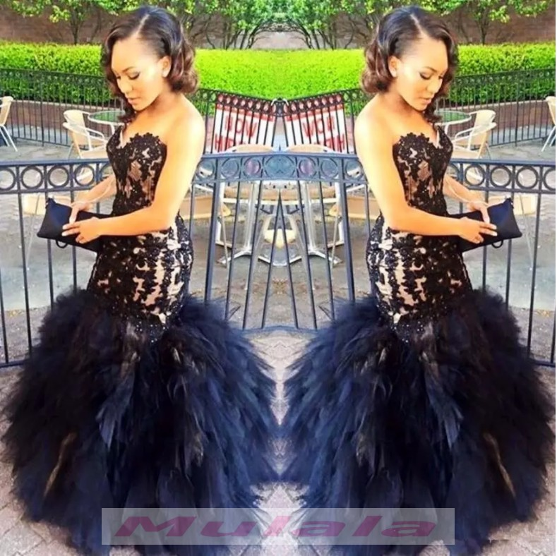 59638b480db44 Sweetheart Mermaid Black Girl Prom Dresses 2018 Black Lace Appliques  Ruffles Long Evening Dress Backless Party Gowns