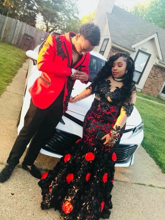 Black_and_Red_Mermaid_Prom_Dresses_Crew_Neck_3D_Flowers_Sheer_Long_Sleeve_African_Girl_Black_Girl_Evening_Formal_Gowns