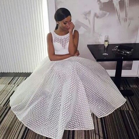 White_Lace_Ball_Gown_Prom_Dresses_Crew_Neck_Puffy_Black_Girl_African_Girl_Evening_Formal_Gowns