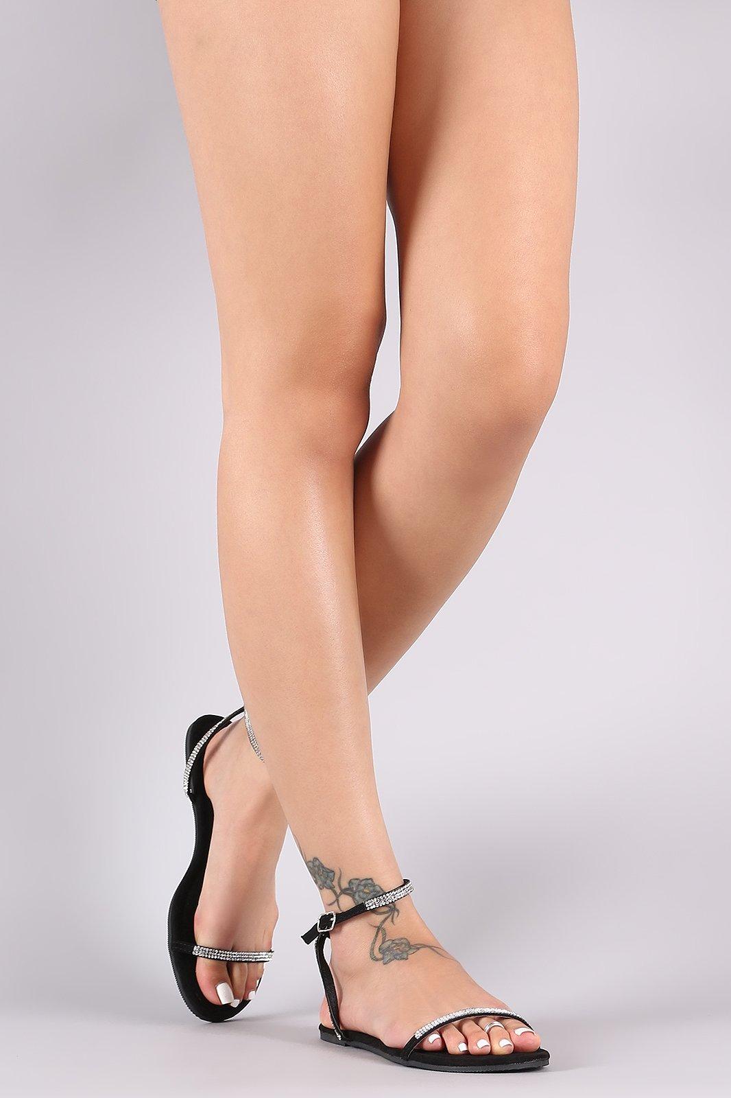 b6334a3db Liliana Rhinestone Ankle Strap Flat Sandal on Storenvy