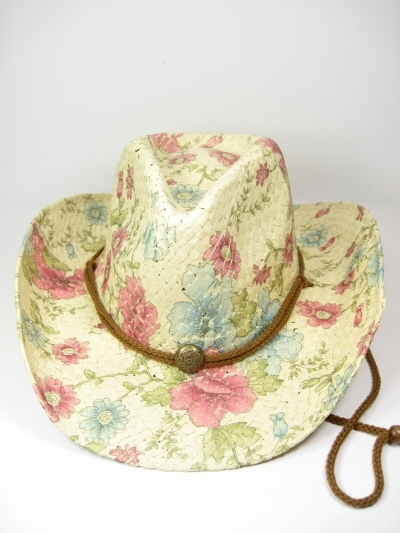 0b37dae18 Two-Steppin Floral Print Cowboy Hat with Pink Flowers