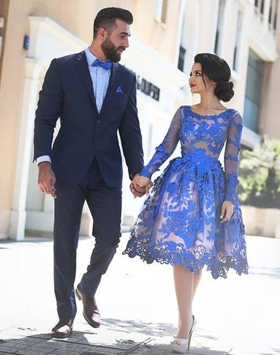 Royal Blue Knee Length Homecoming Dresses Long Sleeves Lace
