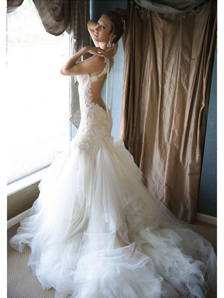 Glamorous Pearls Mermaid Wedding Dress Tulle Lace Bridal Dresses Backless Wedding Gowns From Dressmeet